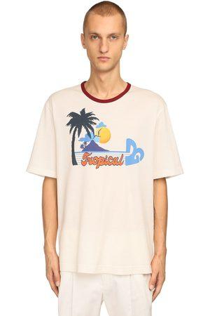 DOLCE & GABBANA T-shirt En Jersey De Coton Imprimé Tropical Dg