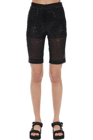 We11 Done Glittered Mesh Biker Shorts
