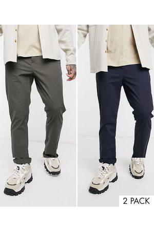 ASOS Lot de 2 pantalons chino ajustés - Kaki et bleu marine