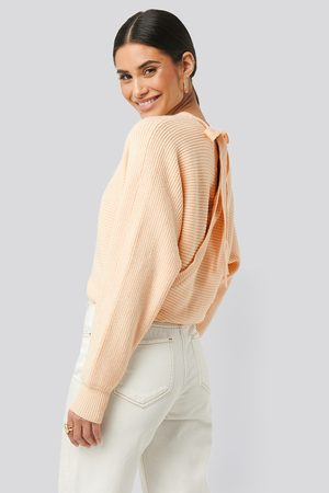 NA-KD Overlap Knitted Tie Detail Sweater - White
