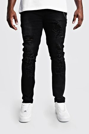 Boohoo Jeans skinny aspect vieilli Grandes Tailles Homme