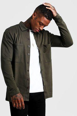 Boohoo Veste-chemise boutonnée style utilitaire en jersey Homme