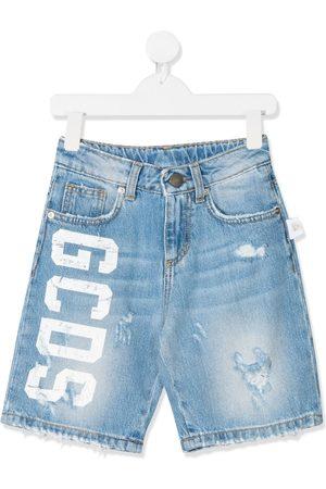 GCDS Logo-print denim shorts