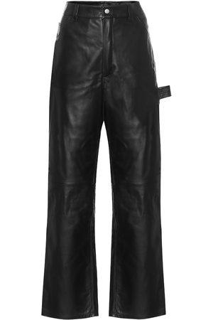 Unravel Pantalon en cuir à taille haute