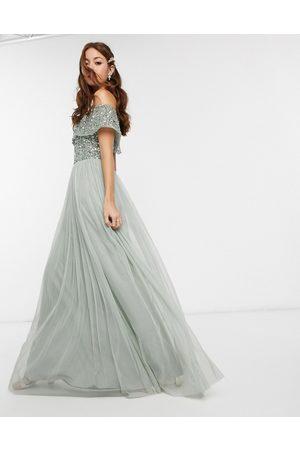 Maya Robe longue de demoiselle d'honneur style Bardot en tulle avec sequins délicats ton sur ton