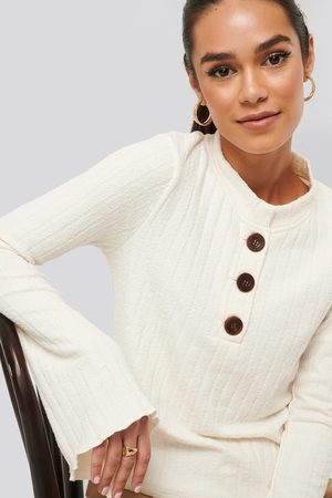 NA-KD Asymmetric Bell Sleeve Ribbed Sweater - White