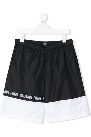 Balmain Monochrome striped logo printed swimming shorts