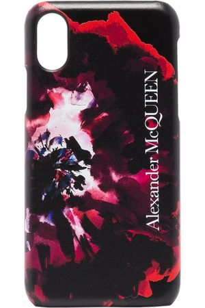 Alexander McQueen Black painterly rose iPhone XS CSS leather case
