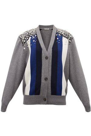 Miu Miu Femme Cardigans - Cardigan en laine rayé à ornements cristaux