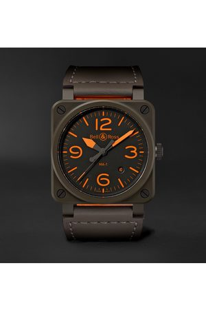 Bell & Ross Homme Montres - BR 03-92 MA-1 Limited Edition Automatic 42mm Ceramic and Leather Watch
