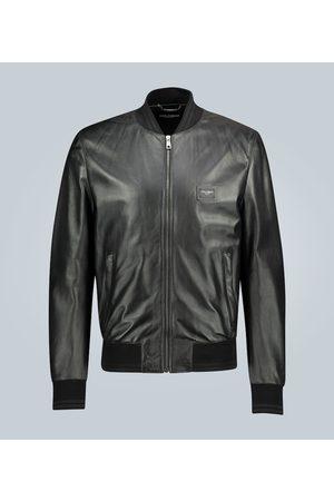 Dolce & Gabbana Veste Bomber en cuir avec plaque