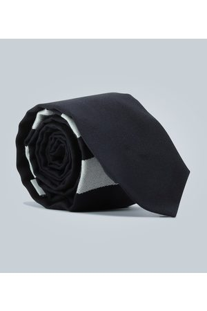 Thom Browne Cravate en laine partiellement rayée