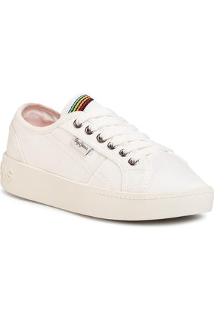 Pepe Jeans Fille Baskets - Sneakers - Brixton Canvas PGS30448 Off White 803