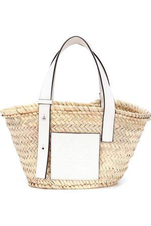 Loewe Cabas Basket Small en feuille de palmier et cuir