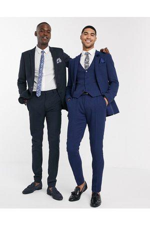 ASOS Wedding - Pantalon de costume ultra ajusté en laine mélangée à petit motif pied-de-poule