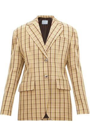 Prada Blazer en laine à carreaux et boutonnage simple