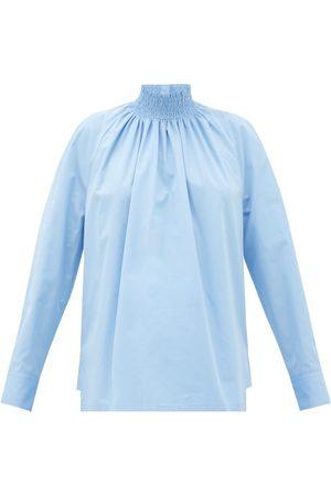 Prada Femme Chemisiers - Blouse en popeline de coton à encolure montante