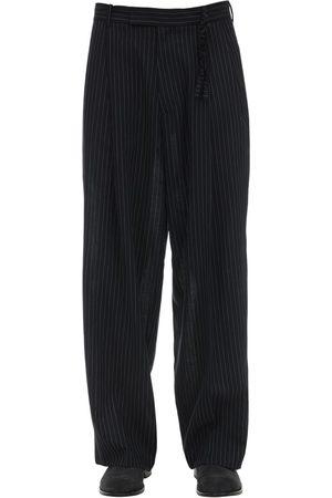 Rochas Pinstripe Virgin Wool Wide Leg Pants
