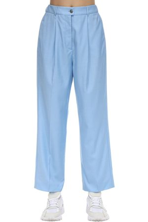 Agnona Pantalon Large En Laine Taille Haute