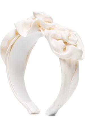 Jennifer Behr White Rosette silk headband