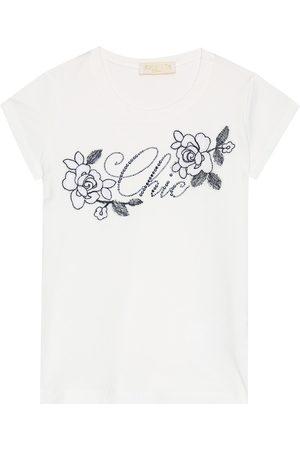 MONNALISA T-shirt brodé en coton mélangé à ornements