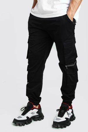 Boohoo Pantalon de jogging cargo multiple en sergé MAN avec zips Homme