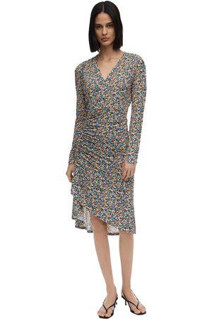 Atlein Floral Print Jersey Midi Dress