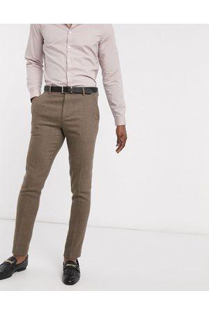 ASOS Wedding - Pantalon de costume ajusté en laine mélangée à chevrons