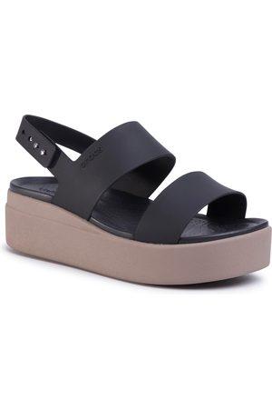 Crocs Sandales - Brooklyn Low Wedge W 206453 Black/Mushroom