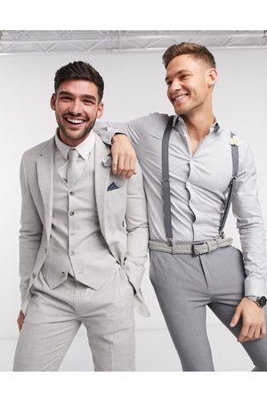 ASOS Wedding - Veste de costume super ajustée en tissu stretch de coton et lin