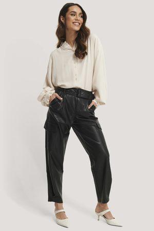 MANGO Pantalon Faux Cuir - Black