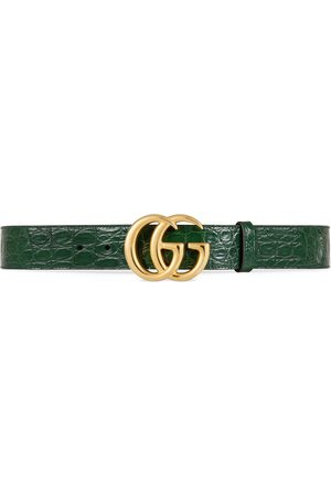 Gucci Ceinture en crocodile GG Marmont avec boucle brillante
