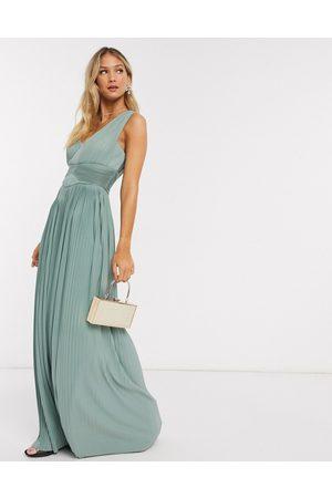ASOS Femme Robes asymétriques - Robe longue asymétrique de qualité supérieure à empiècements plissés