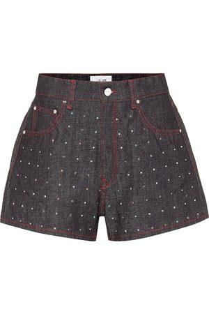 Kirin Short en jean à taille haute et cristaux