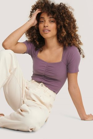 NA-KD Square Neck Ruched Top - Purple