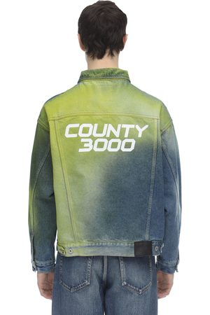 "MARCELO BURLON COUNTY OF MILAN Veste Ample En Denim Vaporisé ""county 3000"""