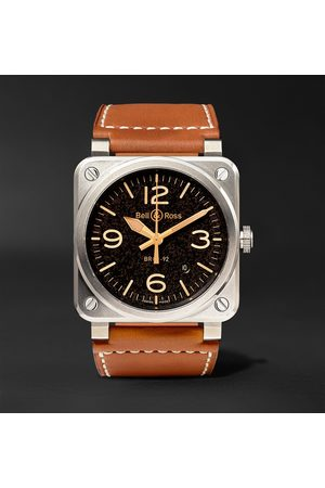 Bell & Ross Homme Montres - BR 03-92 Golden Heritage 42mm Steel and Leather Watch, Ref. No. BR0392‐ST‐G-HE/SCA