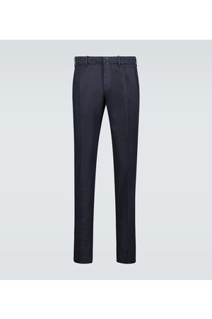 Incotex Pantalon slim en coton et lin mélangés