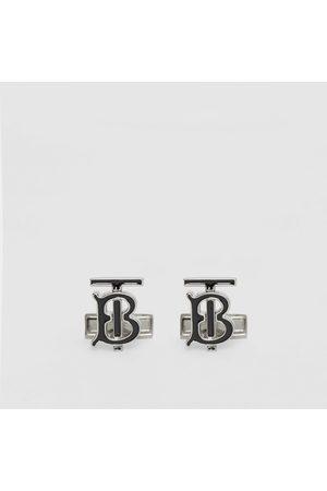 Burberry Homme Bracelets - Boutons de manchette plaqués palladium et en émail Monogram, Black