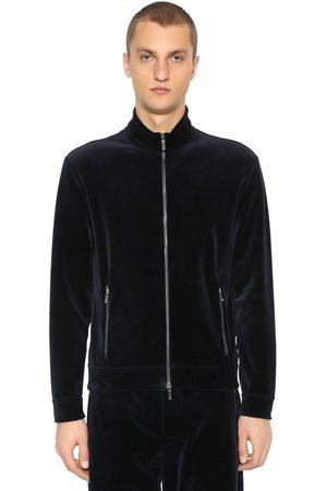 Armani Sweat-shirt En Velours De Coton Avec Zip