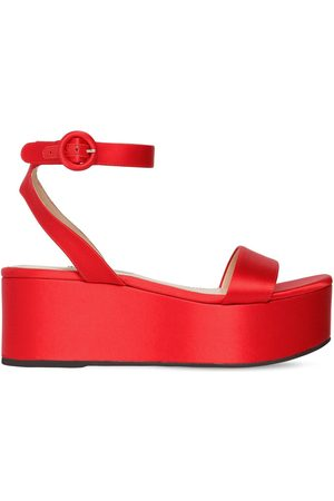Prada Sandales Compensées En Satin 60mm