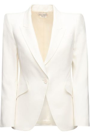 Alexander McQueen Leaf Crepe Single Breast Blazer Jacket