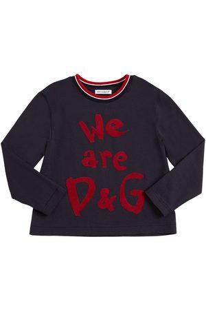 Dolce & Gabbana T-shirt Manches Longues En Jersey Et Logo Floqué