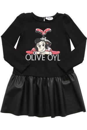 MONNALISA Fille Robes imprimées - Robe En Coton Et Simili Cuir Imprimé Olive