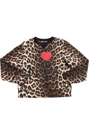 Nº21 Sweat-shirt En Coton Imprimé Léopard