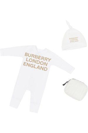 Burberry Barboteuse & Bonnet En Jersey De Coton