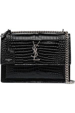 Saint Laurent Black Sunset mock croc leather shoulder bag