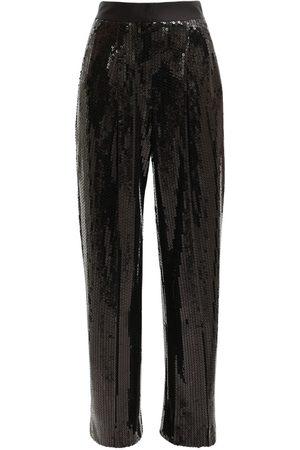 Alessandra Rich Pantalon Ample En Sequins Taille Haute