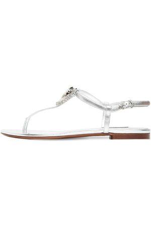 Dolce & Gabbana Sandales En Cuir Métallisé Embelli 10 Mm