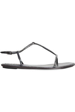 RENÉ CAOVILLA Sandales Embellies En Cuir Et Satin 10mm